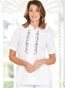 Embroidered Linen Cotton Shirt