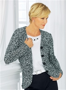 Button Melange Cardigan