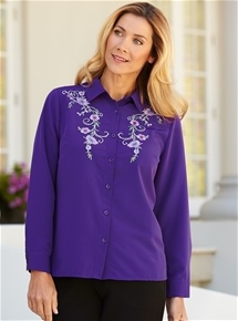 Flowers Embroidered Blouse