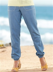 Chambray Tapered Leg Pants
