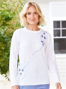 Embroidered Flowers Sweater