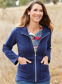 Eyelet Trim Knit Jacket