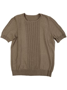 Short Sleeve Cotton Cable Sweater