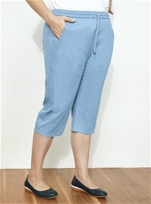Pull On Seam Detail Chambray Pant [PLUS SIZE]