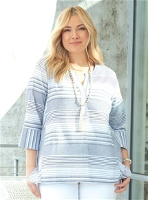 Stripe Tab Sleeve Shirt [PLUS SIZE]