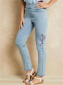 Embroidered Pull On Jeans