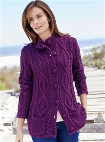 Thermal Button Neck Cardigan