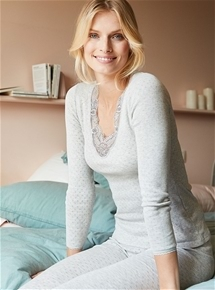 Brushed Fancy Knit Lace Long Sleeve
